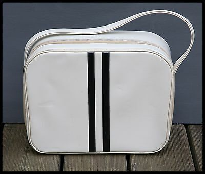 Vintage Vanity Case Mod Stripe White Original Blue Lined + Mirror
