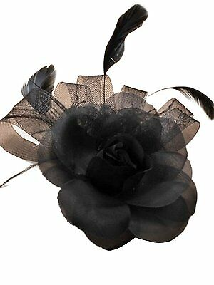 Black Rose Mesh & Feather Fascinator on a clip. Wedding Races