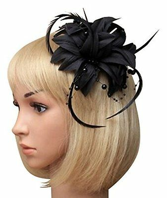Black petals and hanging black beads  Fascinator on a clip. Wedding Races