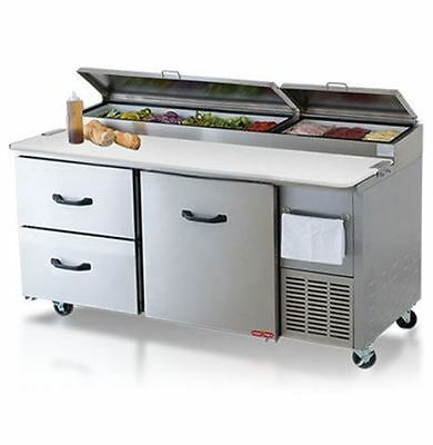 "67"" Refrigerated Pizza Prep Table 1 Door 2 Drawers 9 Pans 19"" Deep Board Casters"