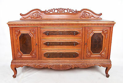 Antique Sideboard French Oak Credenza Large Walnut