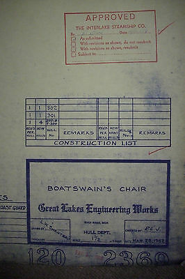 Original Blueprint ILL FATED Edmund Fitzgerald GREAT LAKES ENGINEERING WORKS