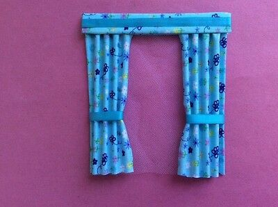 "1 turquoise patterned dolls house curtains  4.5"" x 5"""