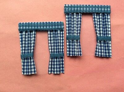 "2 Blue gingham dolls house curtains  3.5"" X 4"""