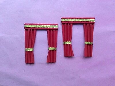 "2 red dolls house curtains  3.5"" X 4"""
