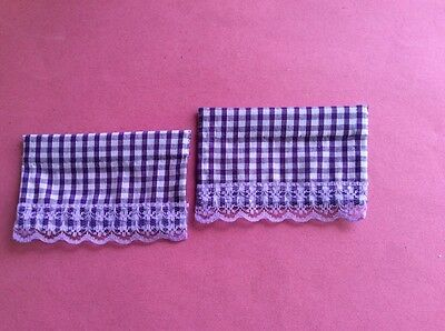2 purple gingham dolls house blinds 9cms wide X 7cms deep