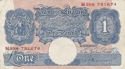 Bank of England War Issue 1940,Peppiatt Blue £1 One Pound Banknote Prefix M59H