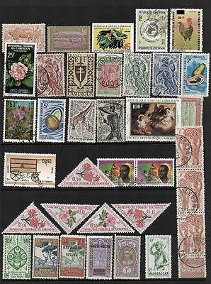 FRENCH COLONIES  3 Pages with 93 stamps  Mint/V.F.Used Nice Looking  Collectable