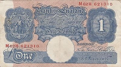 Bank of England War Issue 1940,Peppiatt Blue £1 One Pound Banknote Prefix M62H