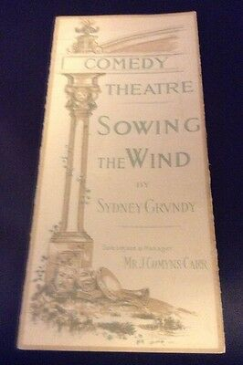 THE COMEDY THEATRE programme SOWING THE WIND