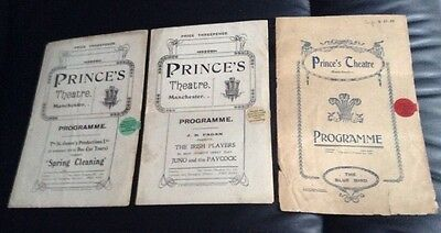 3 very old PRINCE'S THEATRE MANCHESTER programmes