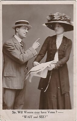"""Real Photo Suffragette/Suffrage Postcard """"Will Women Ever Have Votes ?"""" c.1910"""
