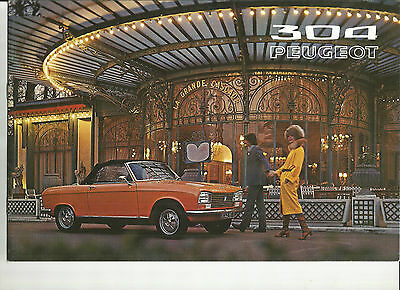 PEUGEOT 304 COUPE CABRIOLET - 1972 / catalogue brochure prospekt folder dépliant