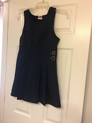 Lot Of 3 Pcs.  GUC. Girl Uniforms sz 7 And 8  2 Blue Jumpers And 1 Blue  Dress