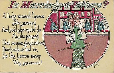 """Social History Suffragette Postcard """"Is Marriage A Failure"""" Posted 1908"""
