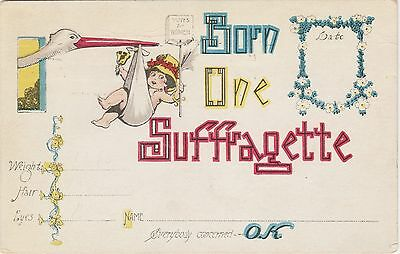 """Social History,Birth Announcement Postcard """"Born One Suffragette"""" Posted 1916"""