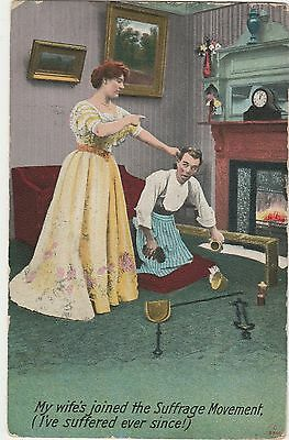 """Suffragette Postcard by Bamforths """"My Wife's Joined The Suffrage Movement"""" c1910"""