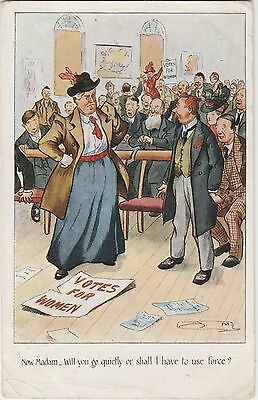 Votes For Women Comic Postcard,Man Confronts Manly Suffragette,Posted 1909