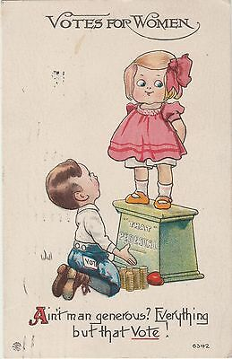 Women's Suffrage Suffragette Comic Humour Postcard,Posted Jan 1914.