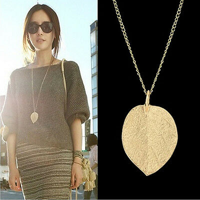 Costume Shiny Jewelry Gold Leaf Design Pendant Necklace Long Sweater Chain EW