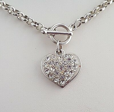 Silver chain necklace with sparkly heart pendant