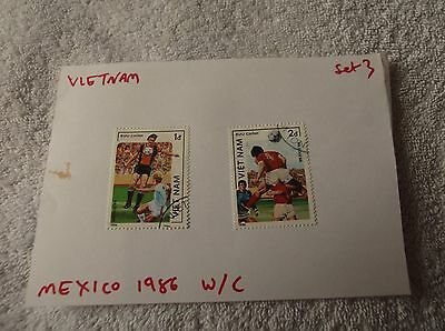"Vietnam ""FIFA FOOTBALL WORLD CUP MEXICO 1986"" 2 Stamps - LOOK!"