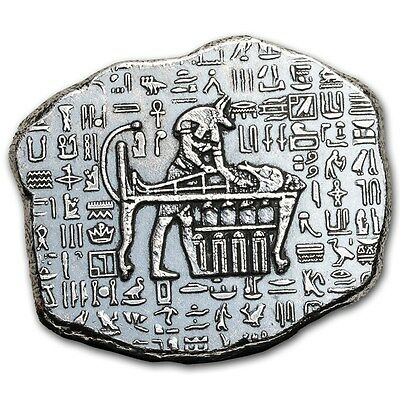 1 oz .999 Silver Art Bar Hand Poured Anubis Egyptian Antique Relic Cleopatra Tut