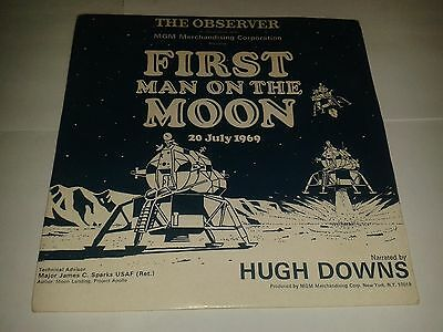 """Hugh Downs – """"First Man On The Moon""""  7"""" Record  (1969) Observer OBS 1 / REF8"""