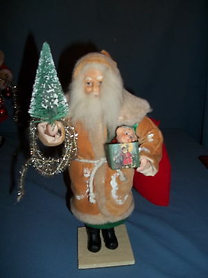 """Santa Christmas Candy Container 12""""jack-in-box,bottle brush tree,silver garland."""