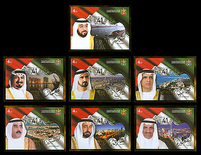 United Arab Emirates UAE 2012,Sheikhs of Emirates,National Day,7 S/Sheet MNH 409