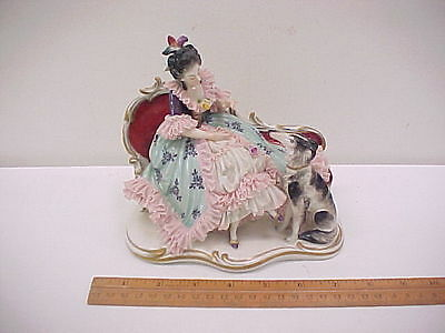 Vintage Figurine Lady in Porcelain Lace Dress on Settee w/ Borzoi Dog as-is lace