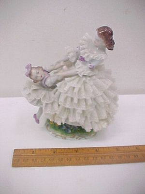 Sitzendorf Dresden Porcelain Lace Figure Lady & Girl Dancing (damaged lace)