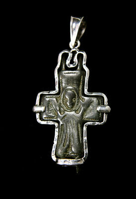 Ancient Byzantine Bronze Cross Set in Silver Pendant. Size 2 1/4 inches.