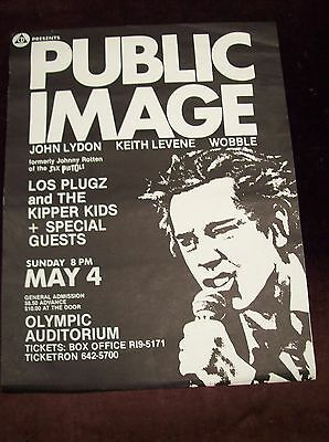 """PUBLIC IMAGE LIMITED SHOW POSTER 70's EARLY 80's JOHN LYDON WOBBLE 17"""" x 22"""" PIL"""