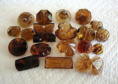 Lot of 19 Vintage Transparent Glass Buttons