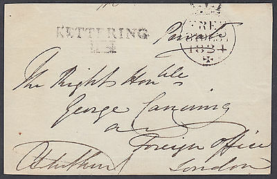 1834 Kettering Mileage: George Canning(later PM)Foreign Office;Free FRONT;signed