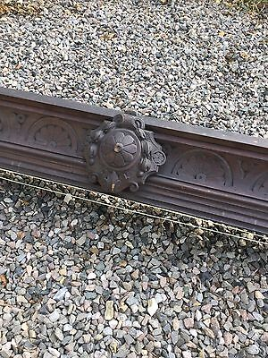 Antique Oak Carved Curtain Pelmet With Track