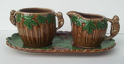 Shafford Cream and Sugar Set Maple Leaf Pattern with Beaver Handles Canadiana