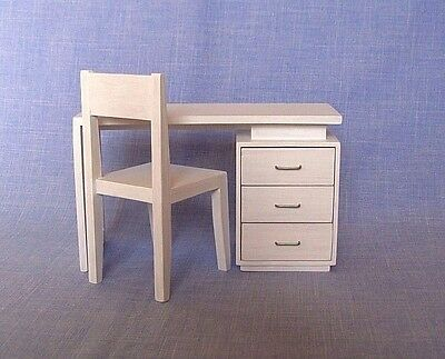 Desk and chairs for 12 inch doll Barbie dollhouse furniture 1:6 scale