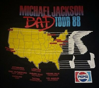 Michael Jackson Bad 1988 World Tour T Shirt North America Usa Made