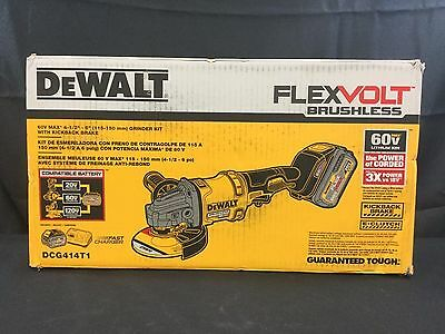 DEWALT DCG414T1 FLEXVOLT 60V Li-Ion Cordless 4-1/2 in. ANGLE GRINDER KIT *NEW*