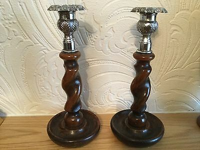 Antique Pair of Barley Twist Candlesticks