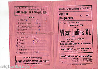 Lancaster v West Indies XI 1951 Worrell Weekes Walcott 4 Page Original Programme