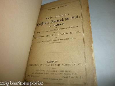 Wisden 1881 Rebind Includes BOTH Wrappers REDUCED