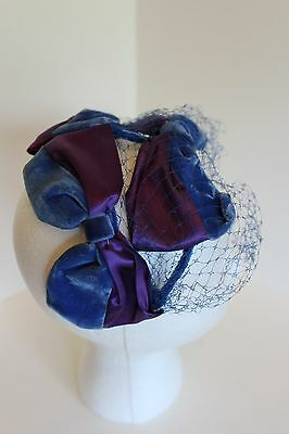 Vintage Blue Velvet Bow Ladies Hat/headpiece With Blue Netting