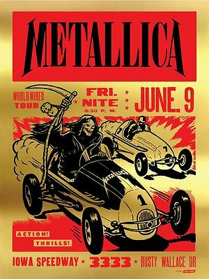 Metallica Iowa Speedway Poster - Gold Foil Edition of 30 - Signed & Numbered