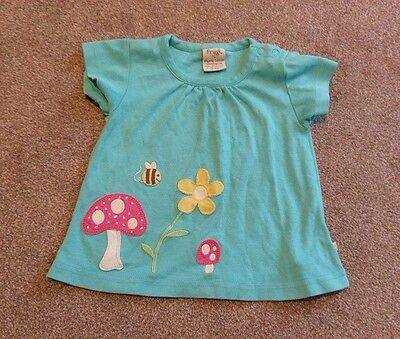 Girsl 6-12 months, frugi, green top, applique design.