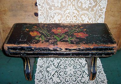 vintage small shabby folk art black floral painted wooden foot stool