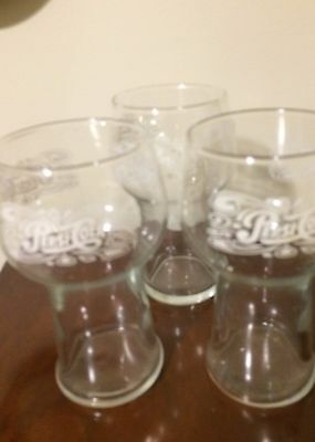 Glasses, clear glass, inscribed in scroll work Pepsi Cola