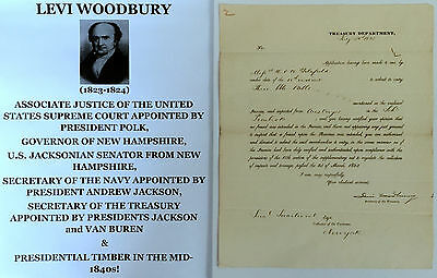 President Jackson Secy Navy Treasury Supreme Court Justice Document Signed 1835